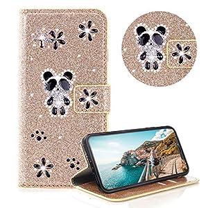 Glitzer Strass Brieftasche für iPhone XS,Silber Leder Handyhülle für iPhone X,Moiky Luxus 3D Magnetisch Kristall Niedlich Panda Blumen Diamant Hülle mit Kartenfächer Ständer