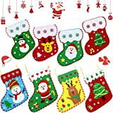 8 Pieces Christmas Felt Crafts Christmas Ornaments DIY Crafts Christmas Stocking Sewing Kits Felt Christmas Ornament Kits for Christmas Party Hand Craft Supplies