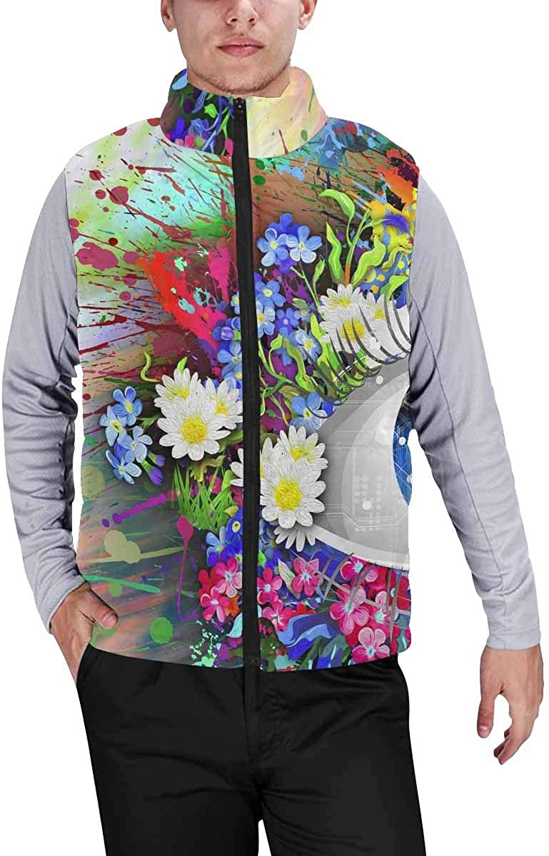 InterestPrint Men's Casual Sleeveless Coats with Personality Design Howling to the Moon