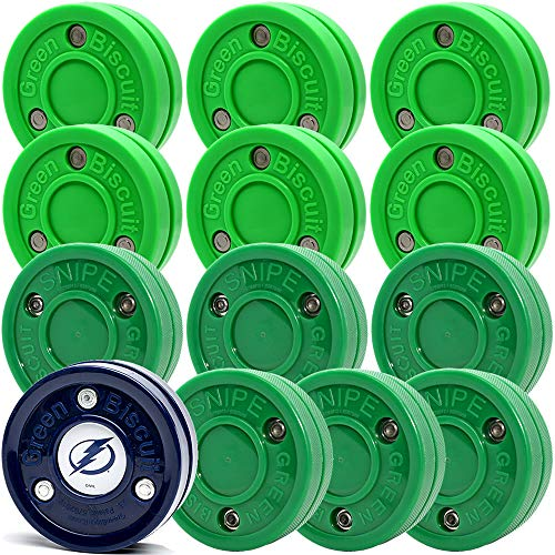 Green Biscuit 12 Pack 6 Original Passer  6 Snipe Shooters with NHL Puck GB Sticker