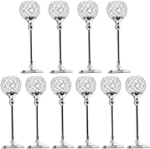 Fenteer Pack of 10 Silver Crystal Pillar Candle Holders Home Decor Wedding Centerpieces for Dining Room Table
