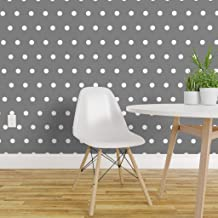 Spoonflower Peel and Stick Removable Wallpaper, White and Grey Polka Dot Julies Retro Dots One Inch Pin Up Can Rockabilly Print, Self-Adhesive Wallpaper 24in x 36in Roll