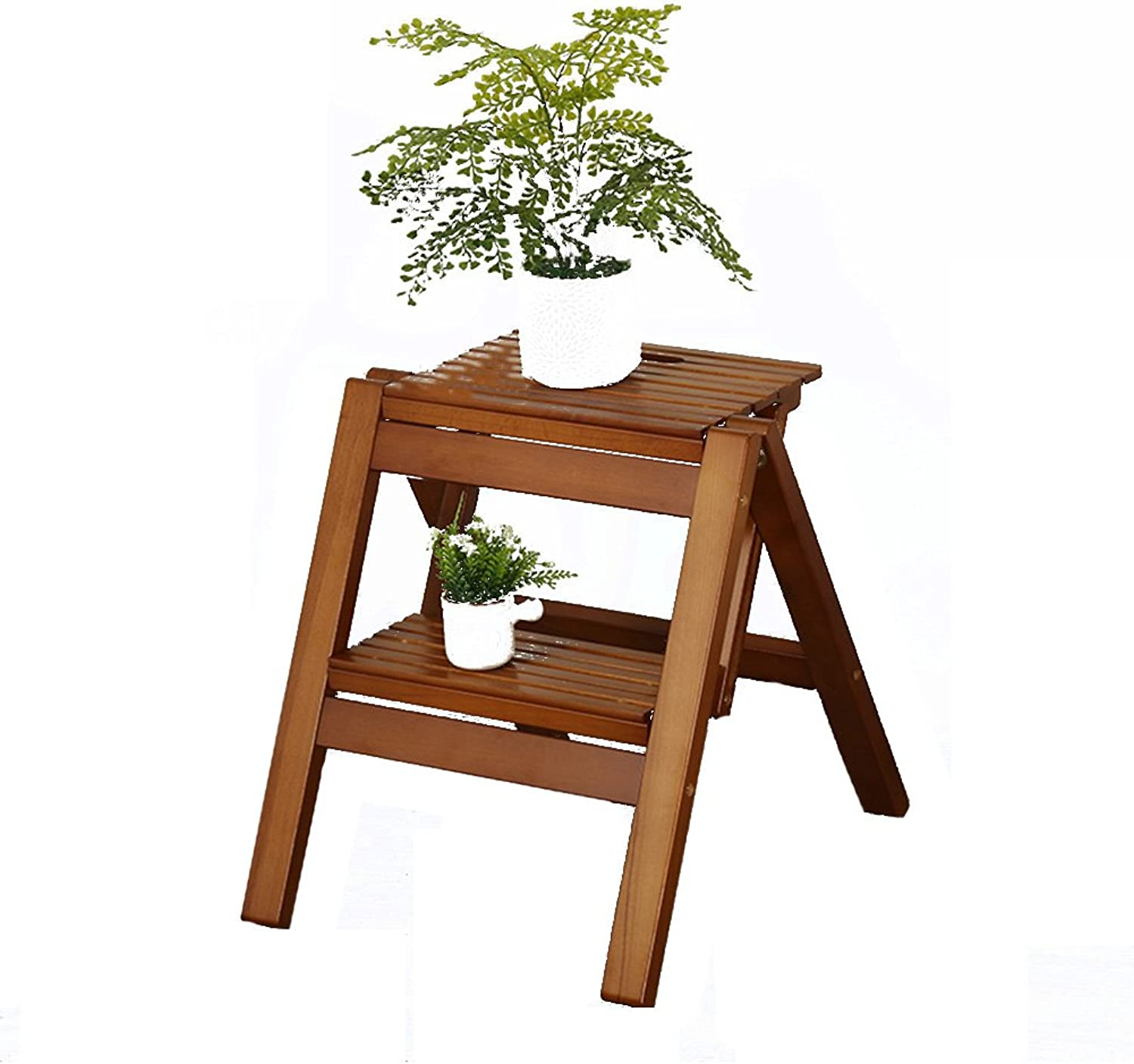 PENGFEI Folding Ladder Stools Stairs Solid Wood Multifunction Portable Home shoes Rack Flower Stand Ascend Footstool Beech, 2 colors Furniture (color   Brown)