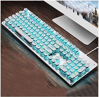 MINHUISHANGMAO Keyboard, Mechanical Keyboard, Green Teak, Retro Style Computer Keyboard, Ergonomic Wired Styl(silver White...