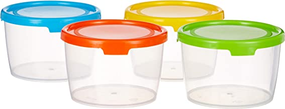 Amazon Brand - Solimo Plastic Storage Container Set, 300ml, Set of 4, Multicolour