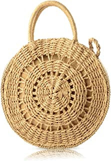 QTKJ Fashion Handwoven Hollow Boho Summer Beach Tote Bag Round Rattan Straw Shoulder Bag Messenger Satchel Handbag for Women