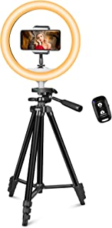 "UBeesize 10"" LED Ring Light with Extendable Tripod Stand & Phone Holder for Live Stream/Makeup/Working, Dimmable Selfie Ri..."