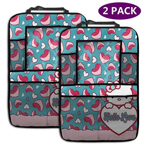 TBLHM Hello Love Kitty Lot de 2 organiseurs pour siège arrière de Voiture avec Support pour Tablette