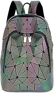 LQRYJDZ Mochilas Escolares PU Luminous Hombres y Mujeres con Doble Cremallera Mochila geométrica rombo Mochila Gran Capacidad de Ocio 9.7 Pulgadas iPad Bolsa de Viaje al Aire Libre (Color : A)