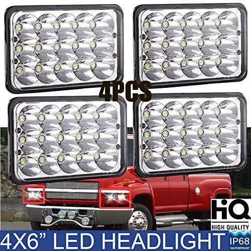 4x6 Rectangular Sealed Beam LED Headlights for Chevrolet Chevy Kodiak C4500 and C5500, H4651 H4642 H4652 H4656 H4666 H4668 H6545 Conversion Kit Bulb 6000K 4PCS Headlamp H4 Plug (Package of 4)