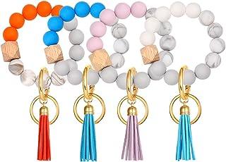 4PCS Silicone Key Ring Bracelet for Women Elastic Wristlet Keychain House Car Key Ring Holders