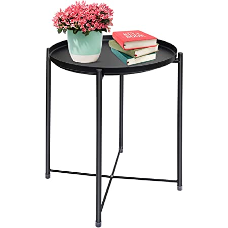 Metal End Table, Waterproof Small Coffee Table, Round Metal Tray Table, Outdoor & Indoor Snack Table, Foldable Sofa Side Table, Removable Tray Table for Living Room Bedroom Balcony Office, Black
