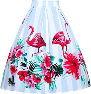 JUSSON Women's Skirt Printed Pleated Skirt Midi Skirt Cotton Fabric-Flamingo