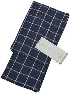 [ 京都きもの町 ] 男性 綿麻浴衣+帯 2点セット 紺格子
