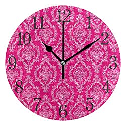 senya Wall Clock Hot Pink & White Damask Silent Non Ticking Operated Round Easy to Read Home Office School Clock