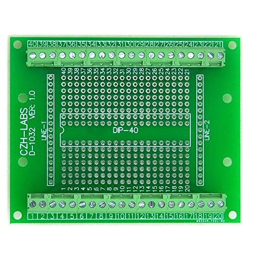 Electronics-Salon DIP-40 Component to Screw Terminal Block Adapter Board, DIP40 PCB.