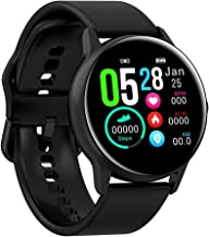 Full Touch Fitness Tracker,Bluetooth Smart Band Fitness Watch, Heart Rate Blood Pressure Monitor IP68 Waterproof Wrisband with Pedometer Outdoor Sport Bracelet for Android iOS (Black, Silicone Strap)