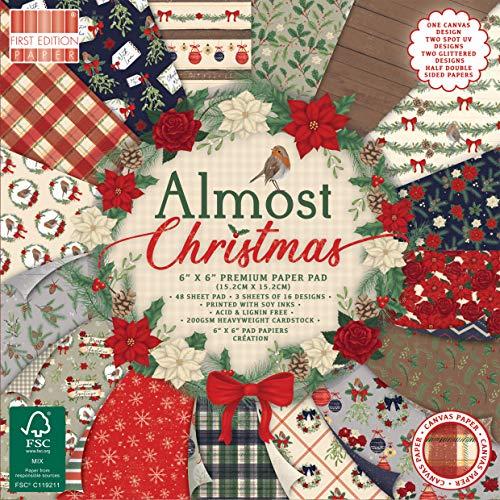 Dovecraft First Edition FSC 6x6 Christmas Paper Pad - Almost Christmas Craft Cardstock-Blocco di Carta, 15 x 15 cm, Motivo: Quasi Natale, Multicolour, 6'x6'