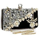 Bolsa de embrague para mujer, para boda, dama de honor, graduación, terciopelo brillante, con diamantes de imitación, color negro