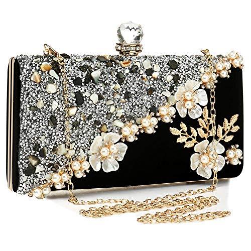 Bolso de mano para mujer, de noche, para boda, dama de honor, graduación, terciopelo brillante, con cierre de piedra de cristal de diamantes de imitación, color negro