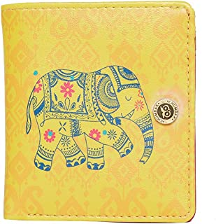 Chumbak Paisley Elephant Square Button Wallet - Yellow