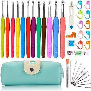 GulfDealz Crochet Hooks Set, Stitch Markers Kit with Portable Case - 37 Pieces