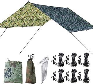 Picnic Blanket, Outdoor Beach Mat Ground Sheet Tent Tarp, Waterproof Sandproof Compact Tarp, 300cmx300cm Include 1Tent 6Al...