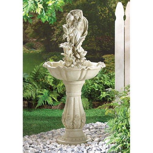 wakatobi Outdoor Garden Fairy Maiden Fiberglass Water Fountain Yard Patio Deck Decor