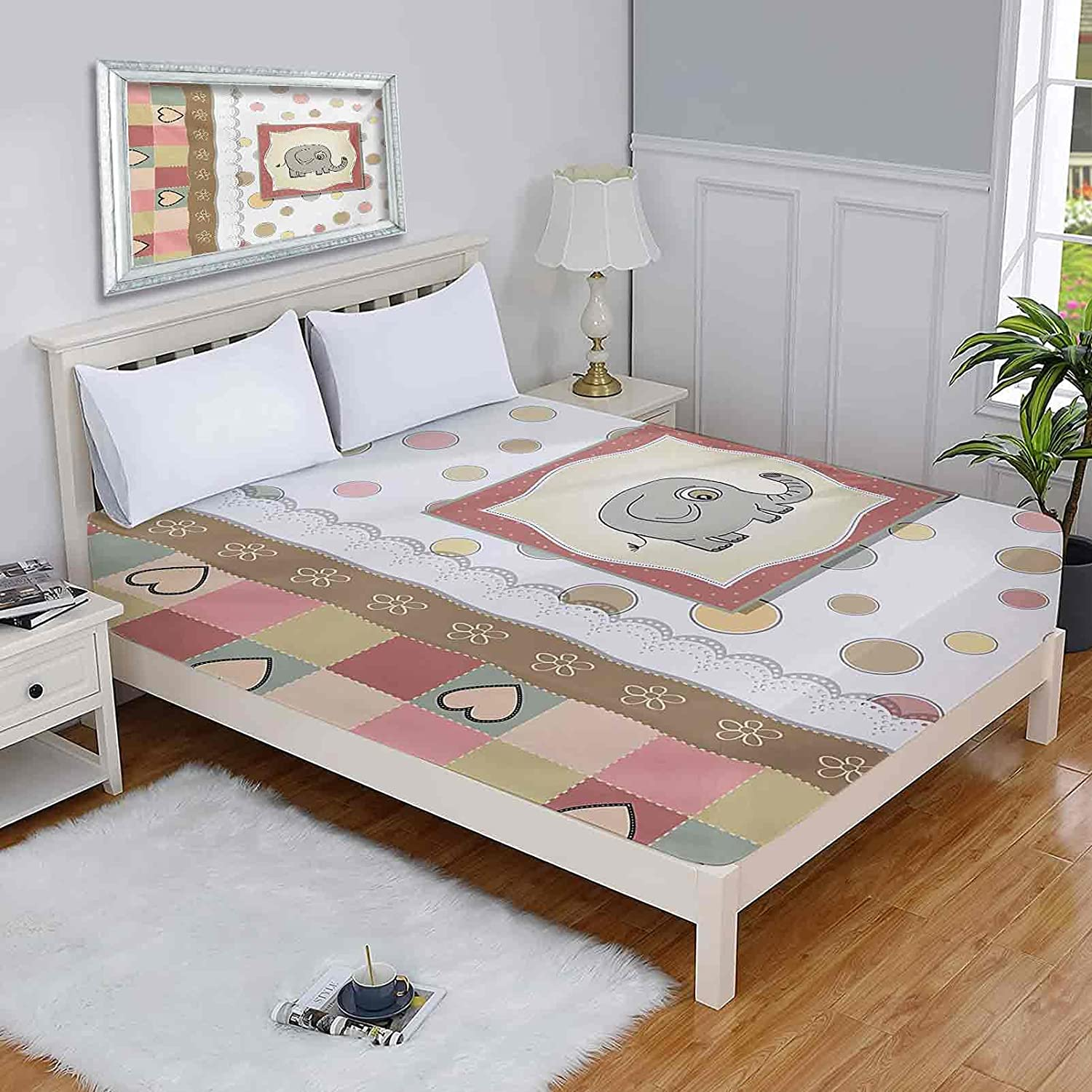 Nursery Full Fitted Bed Sheets low-pricing Romantic Vintage Composition of Chicago Mall