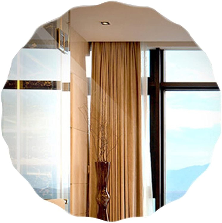 Bathroom Mirror HD Wall Hanging Round Frameless Wavy Edge Sink Modern Style Hotel Home Hook Inssizetion 50  50cm