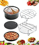 AIQI 5 Piece Air Fryer Accessories, Including Cake Barrel, Pizza Pan, Metal Holder, Skewer Rack and Silicone Mat for Gowise Phillips and Cozyna and More, Fit All 3.7QT - 5.3QT - 5.8QT