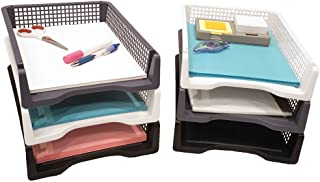 Set of 6 Sturdy Plastic Front Loading Document Letter Organizer Tray, Stackable Office Desktop Paper Holder, Black White and Grey, 2 of Each Color