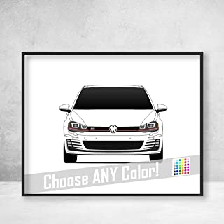 Volkswagen Golf GTI MK7 Poster Print Wall Art Decor Handmade