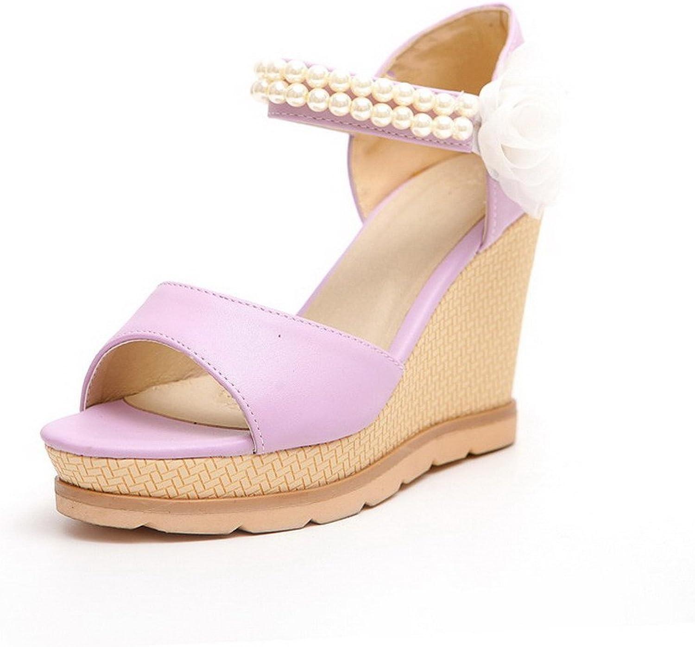 AmoonyFashion Women's Hook and Loop Open Toe High Heels PU Solid Sandals