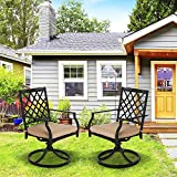 Patio Time Swivel Patio Dining Chairs - 2 Piece Outdoor Metal Rocker Set with Cushions for Balcony Yards Porch