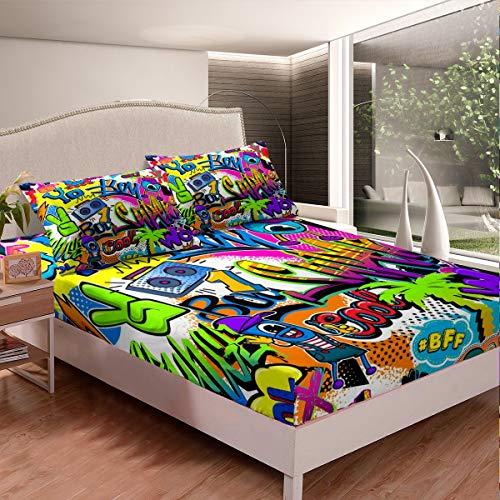 Hippie - Juego de sábanas estilo graffiti con hojas de palma tropicales para niños y niñas, juego de ropa de cama con patrón de graffiti para dormitorio, colección de 3 piezas de tamaño doble