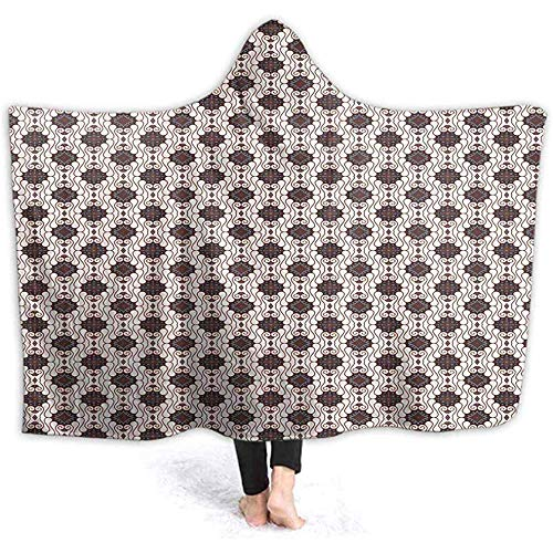 ZAlay Imprimir Mantas con Capucha Java Batik Motif Trendy Cuddly Warm Winter Sherpa Fleece Disfraces para Mujeres Hombres Adolescentes Descansando Sofá
