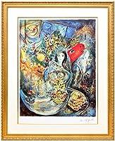 アートショップ フォームス マルク・シャガール「愛しのベラ」作品証明書・展示用フック・限定500部エディション付複製画リトグラフ