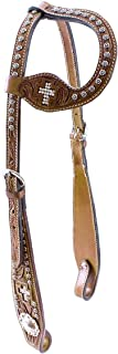 Tahoe Tack Show Crystal Cross Hand-Tooled Western Slip Ear Headstall- Multiple Sizes Available