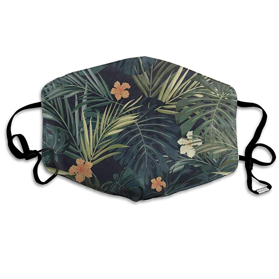 Custom Mouth Mask Anti-Dust Hawaiian Summer Palm Tree Leaves Flower Retro Face Mask Breathable Mask With Adjustable Ear-loop Windproof And Warm
