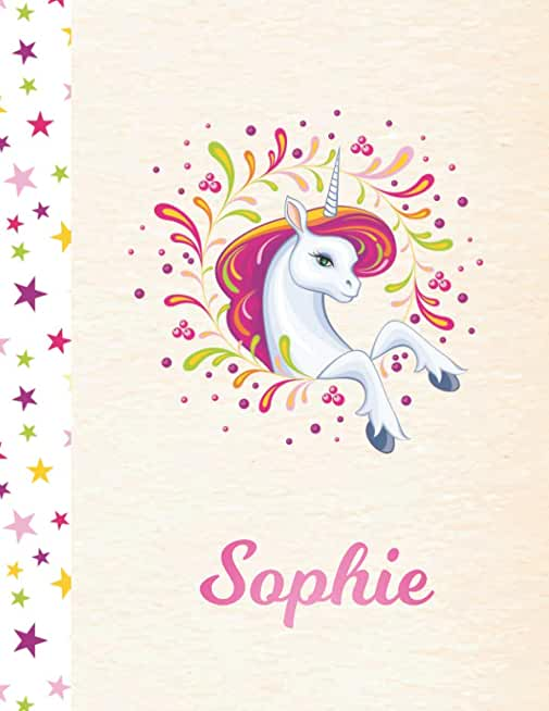 Sophie: Unicorn Personalized Custom K-2 Primary Handwriting Pink Blank Practice Paper for Girls, 8.5 x 11, Mid-Line Dashed Learn to Write Writing Pages