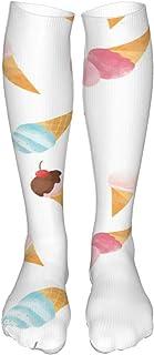 Watercolor Ice Cream Pattern Sport Compression Socks for Men & Women (24in60cm)