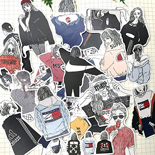 HENJIA Black And White Manga Girl Decoration Sticker Diy Diary Scrapbook Label Character Stationery 32 Pcs