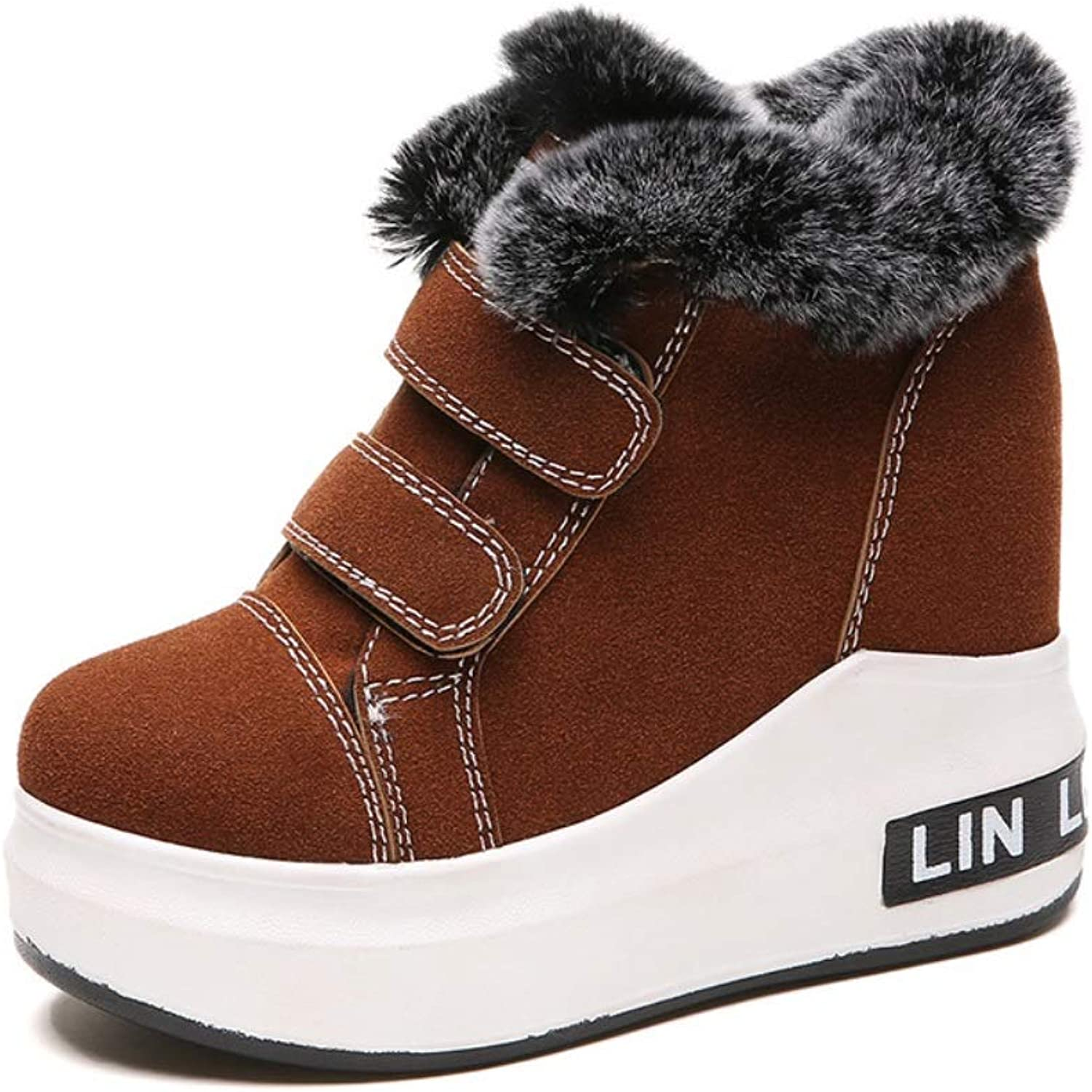Women's Invisible High-Heeled Platform Sports shoes Wedges Series Punk Ankle Boots Plus Velvet Warm Winter Snow Boots