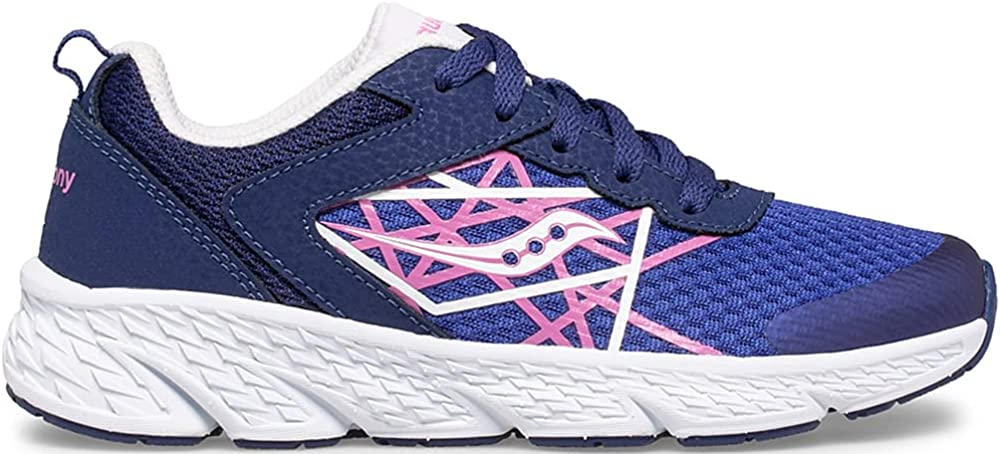 Saucony Wind Running Shoe, Blue/Pink, 1.5 Wide US Unisex Big_Kid