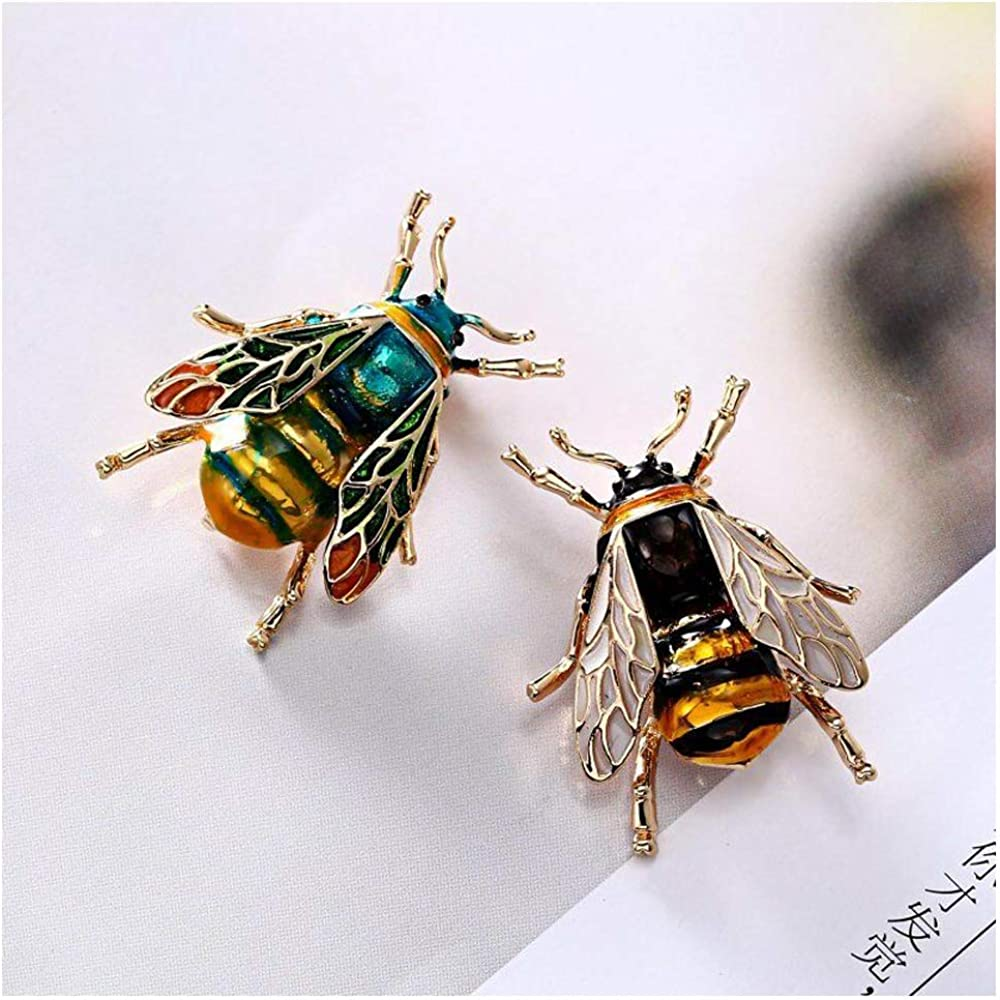 Wixine 2Pcs Retro Enamel Bumble Bee Crystal Brooch Pin Costume Badge Women Jewelry Gift