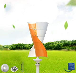Wind Turbine Generator Orange and White Mini windmill generator kit vertical axis 100-400W Three Phase AC/DC12V including a controller, Flange for home,business,rv, marine energy supply