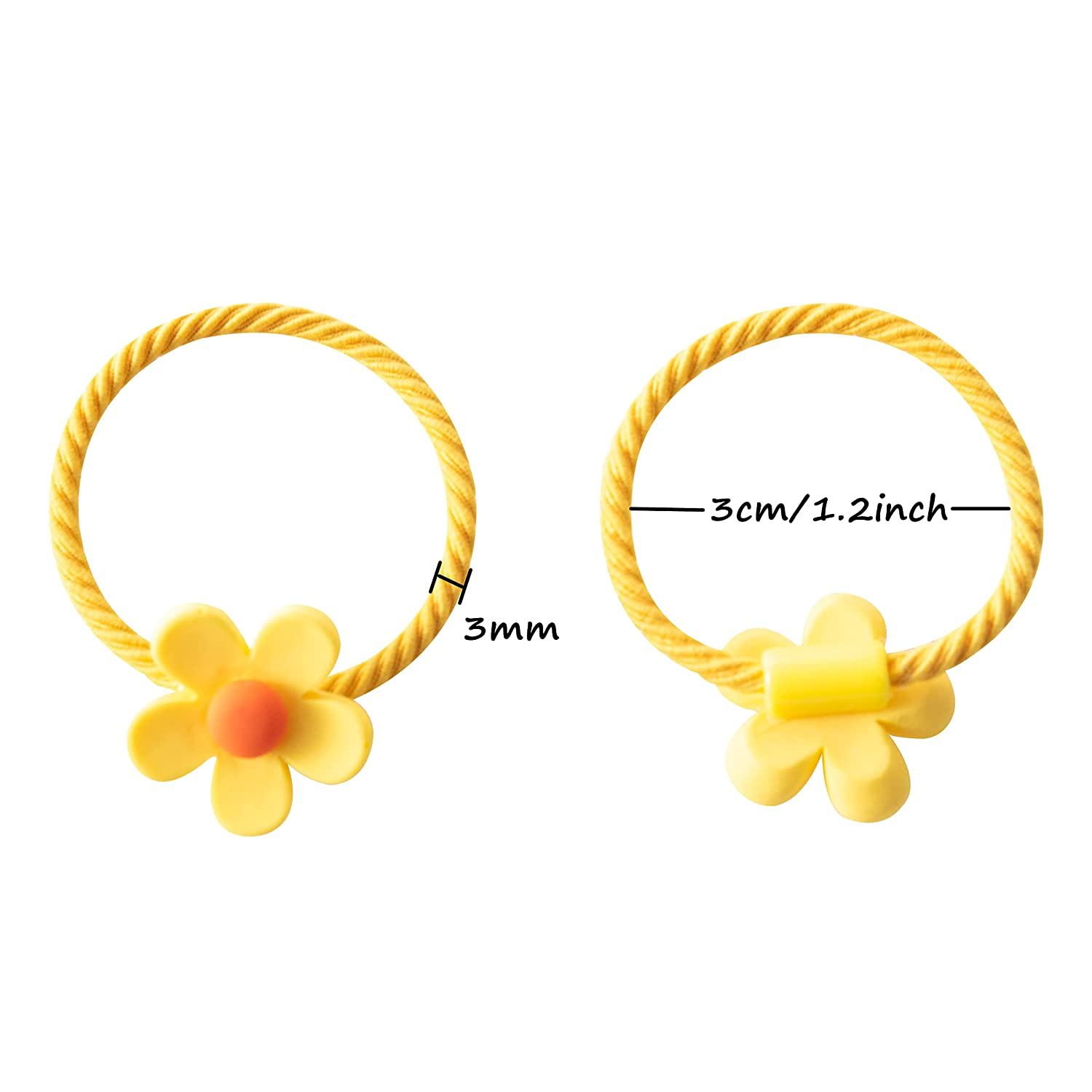 40pcs (20 pairs) Girl's Elastic Hair Ties Rubber Bands Flower and Bows Hair Bands Holders Pigtails Ponytail Hair Accessories for Girls Infants Toddlers Kids Teens and Children