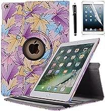 AiSMei Case for iPad 9.7 2018,iPad 9.7 2017, iPad Air 2, iPad Air - 360 Degree Rotating Case Smart Cover with Auto Wake/Sleep, Bonus Stylus + Film - Purple Maple Leaves