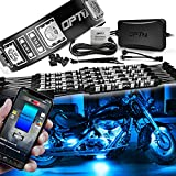 OPT7 Aura Pro Motorcycle LED Light Kit Smart Brake, RGB Multi-Color Bike Underglow Neon Light Bluetooth APP, Motorcycle Under Glow Strips Switch for Cruisers, 10pc, IP67 Waterproof 12V, IOS Android